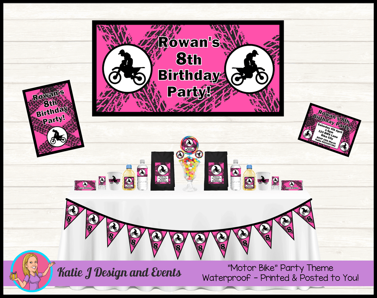 Personalised Girls Pink Motorbike Party Packs Decorations Supplies