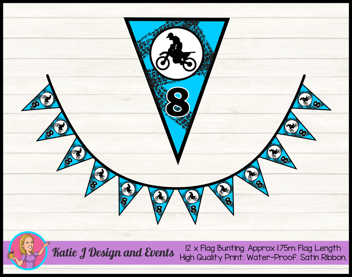 Personalised Motorbike Birthday Party Flag Bunting