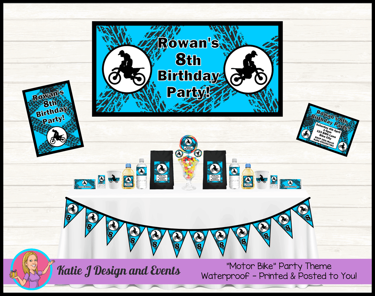 Personalised Aqua Blue Motorbike Party Packs Decorations Supplies