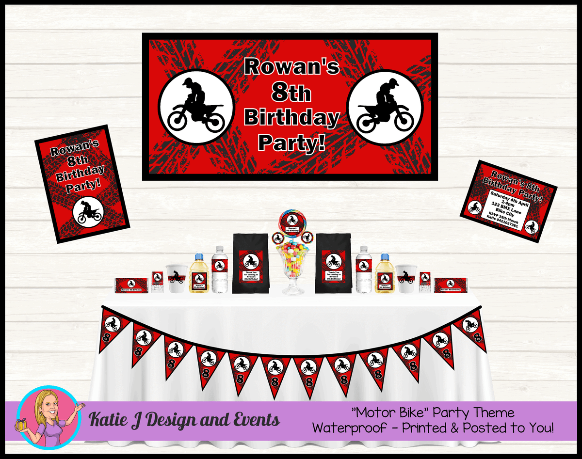 Personalised Red Motorbike Party Packs Decorations Supplies