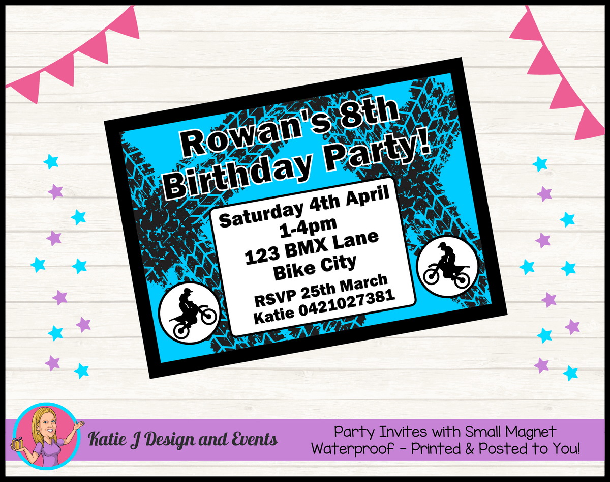 Personalised Motorbike Birthday Party Invites Invitations