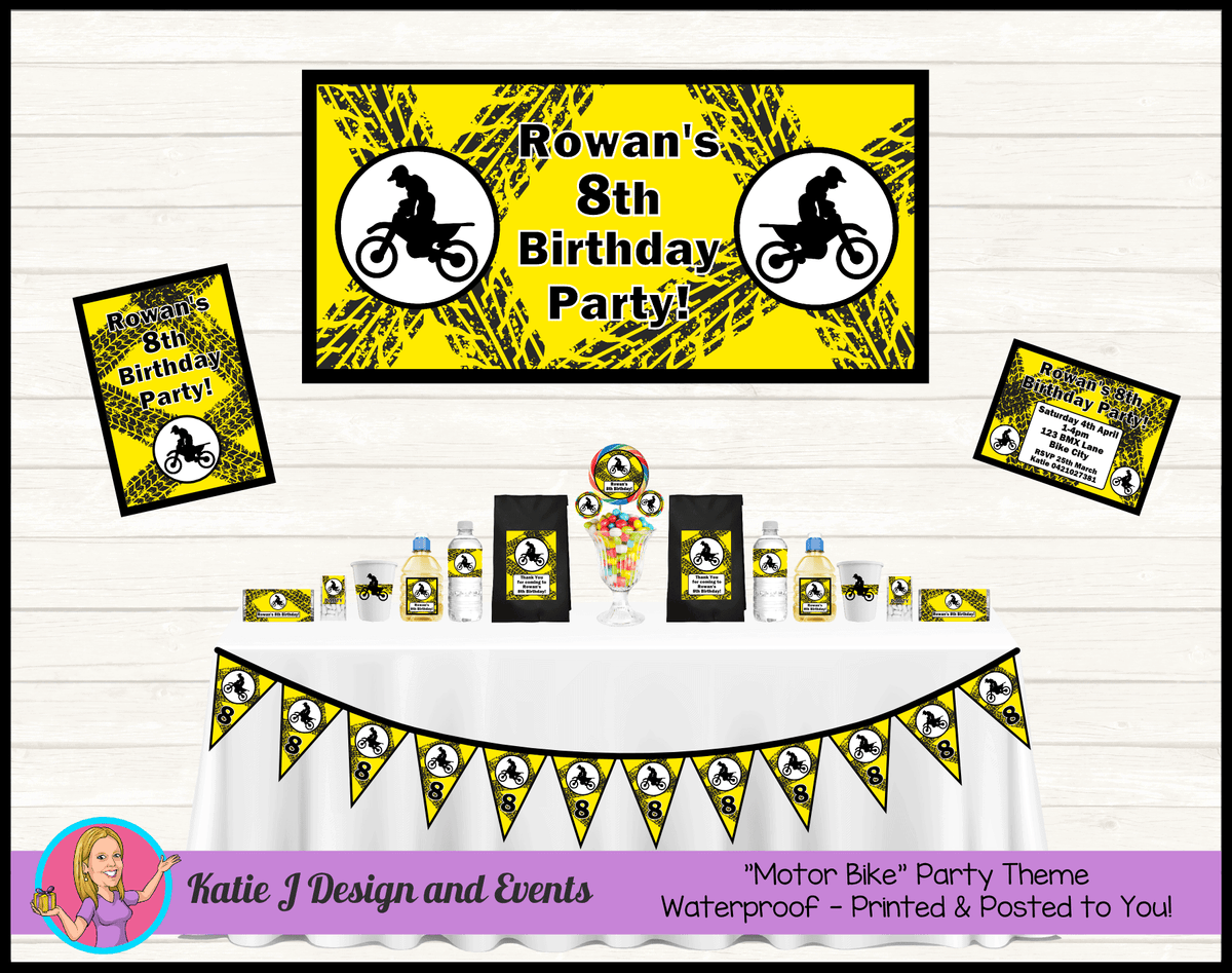 Personalised Yellow Motorbike Party Packs Decorations Supplies