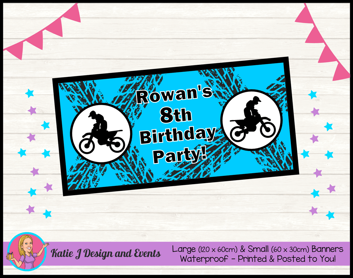 Personalised Motorbike Birthday Party Banner