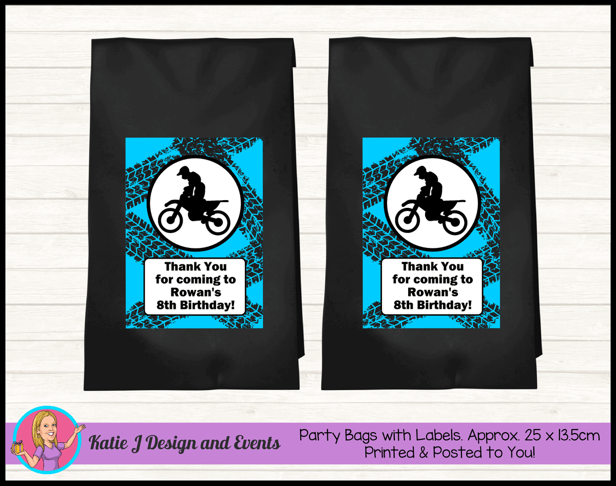 Personalised Motorbike Birthday Party Loot Bags