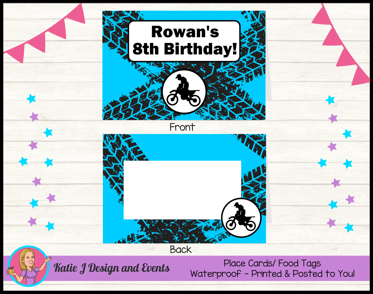 Personalised Motorbike Party Place Cards