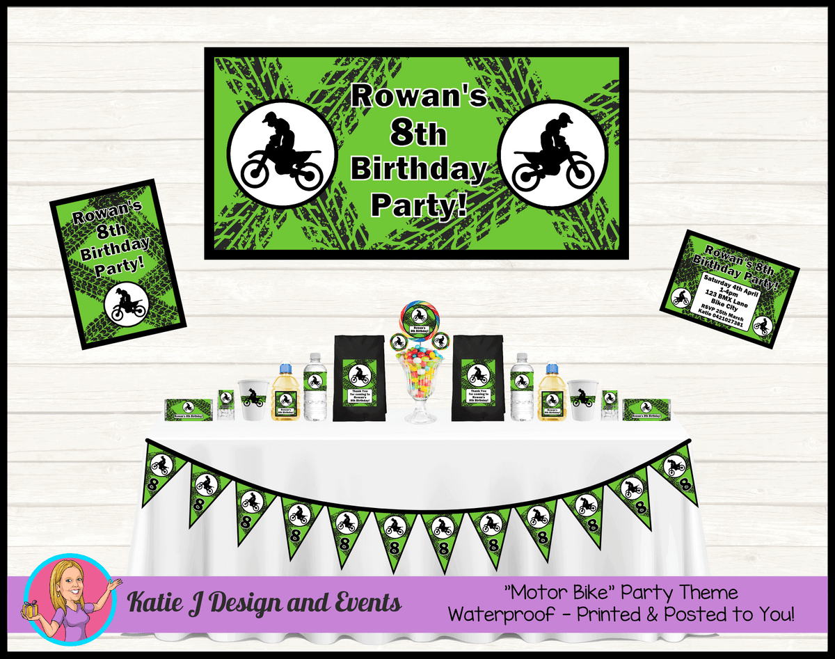 Personalised Green Motorbike Party Packs Decorations Supplies