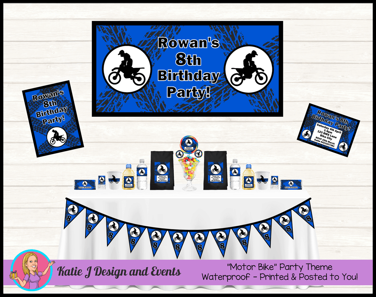 Personalised Royal Blue Motorbike Party Packs Decorations Supplies