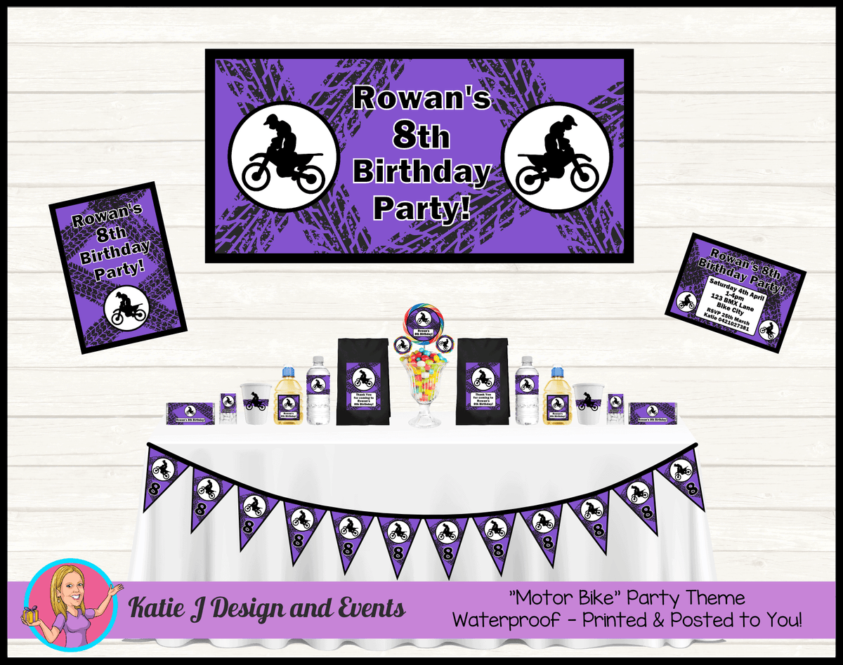 Personalised Purple Motorbike Party Packs Decorations Supplies