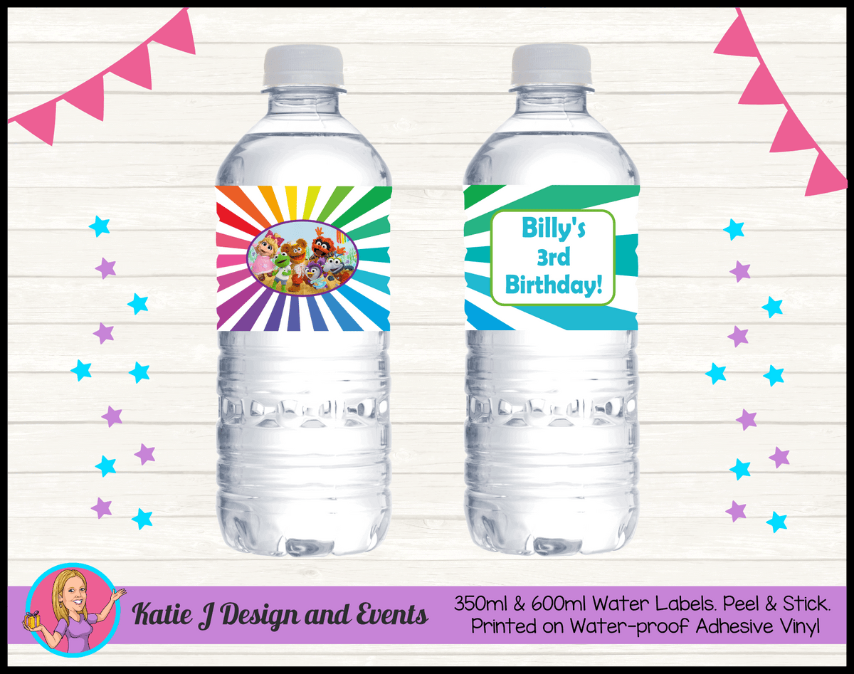 Personalised Muppet Babies Party Water Labels