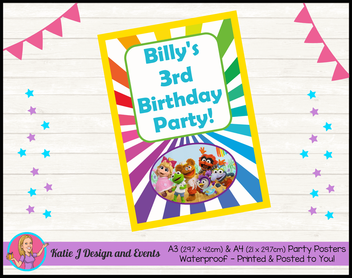 Personalised Muppet Babies Birthday Party Poster