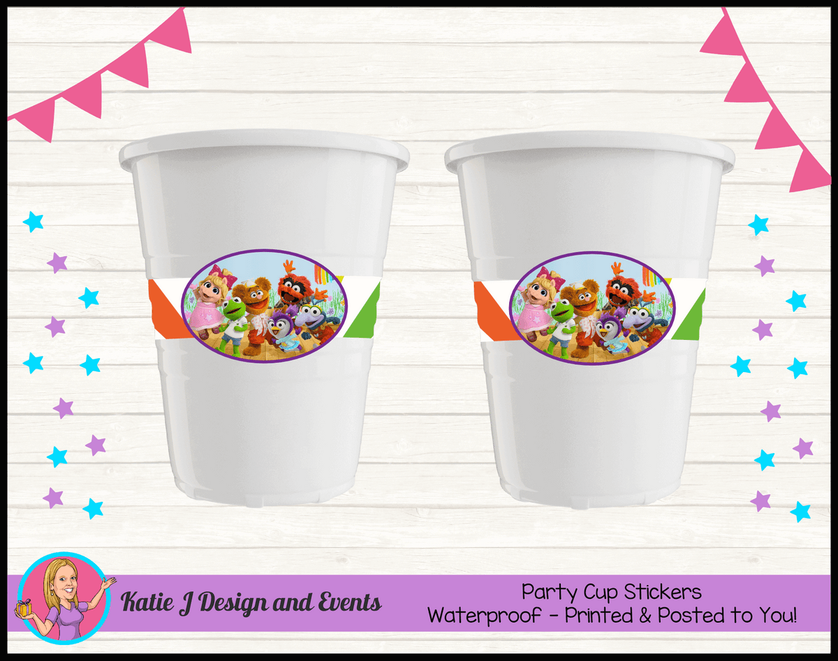 Personalised Muppet Babies Party Cup Stickers Cups