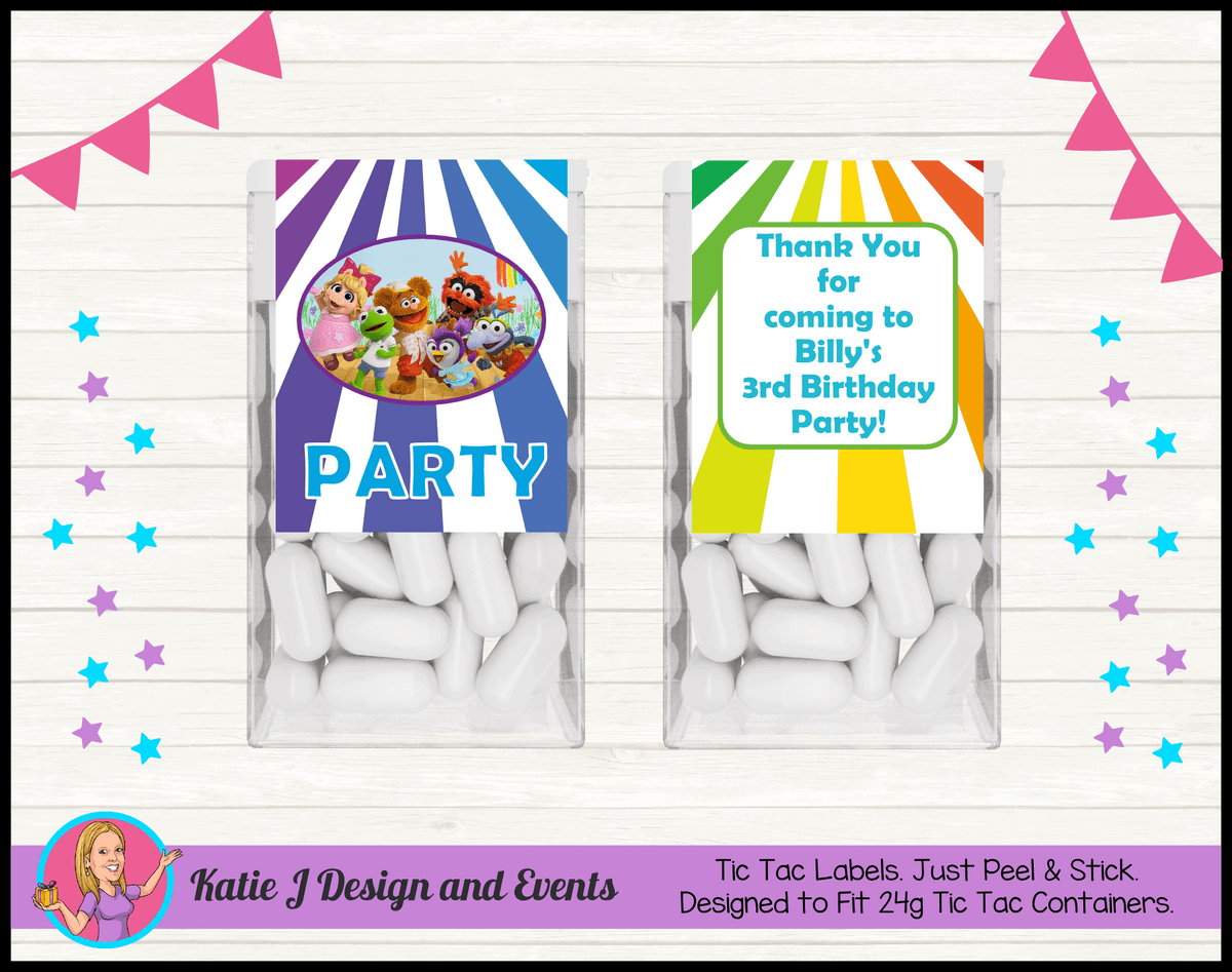 Personalised Muppet Babies Tic Tac Mint Labels