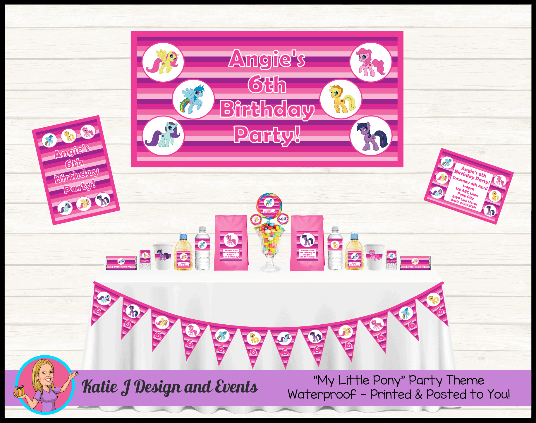 Personalised My Little Pony Birthday Party Decorations Katie J Design And Events