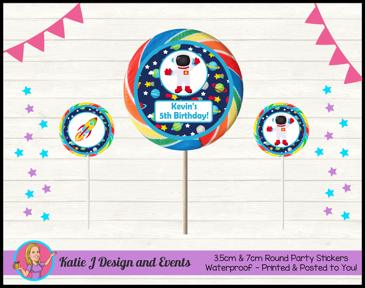 Outer Space Galaxy Personalised Birthday Party Round Lollipop Stickers