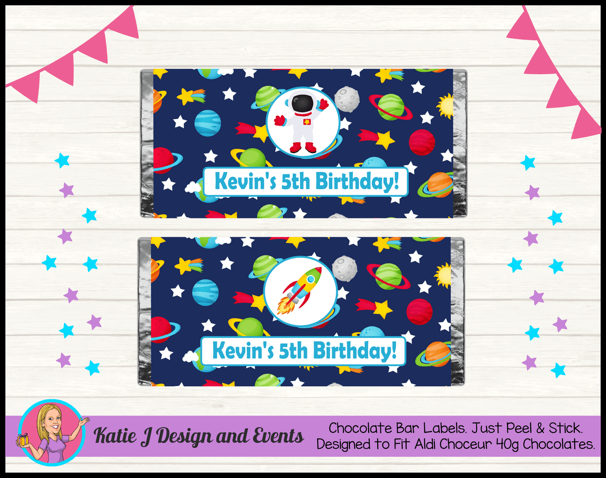 Outer Space Galaxy Personalised Birthday Party Chocolate Labels Wrappers