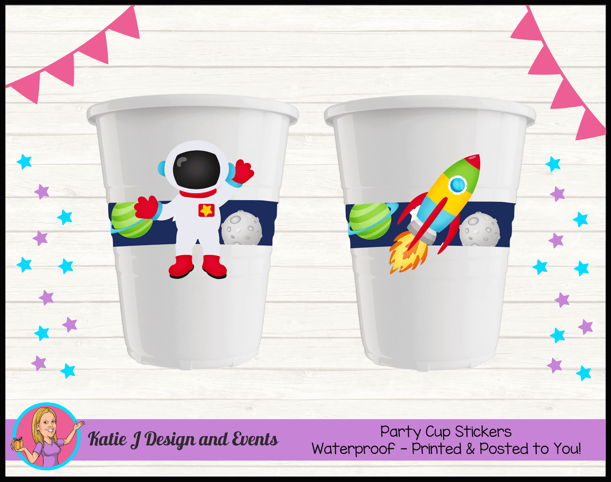 Outer Space Galaxy Personalised Birthday Party Cup Stickers Cups