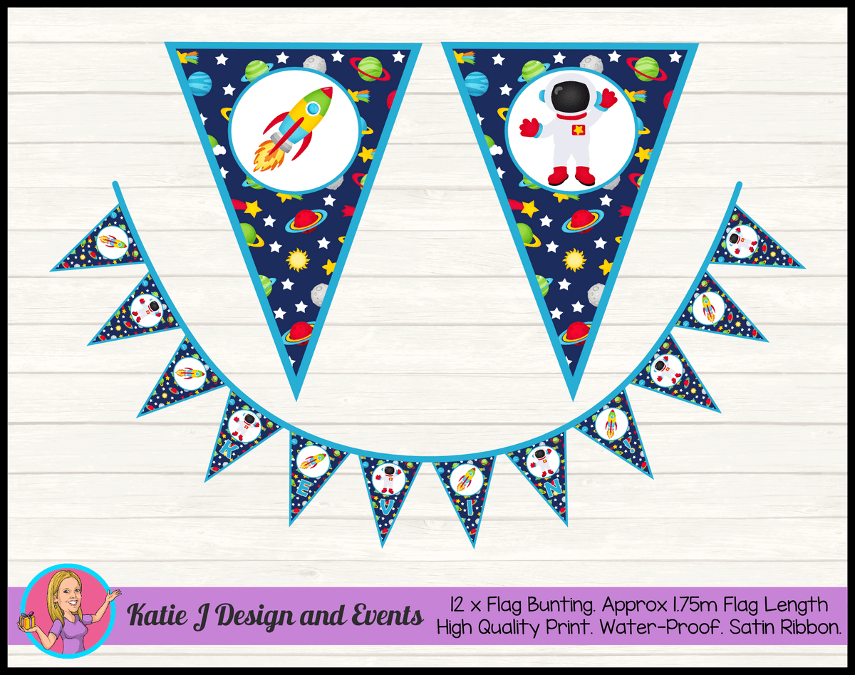 Outer Space Galaxy Personalised Birthday Party Flag Bunting Name