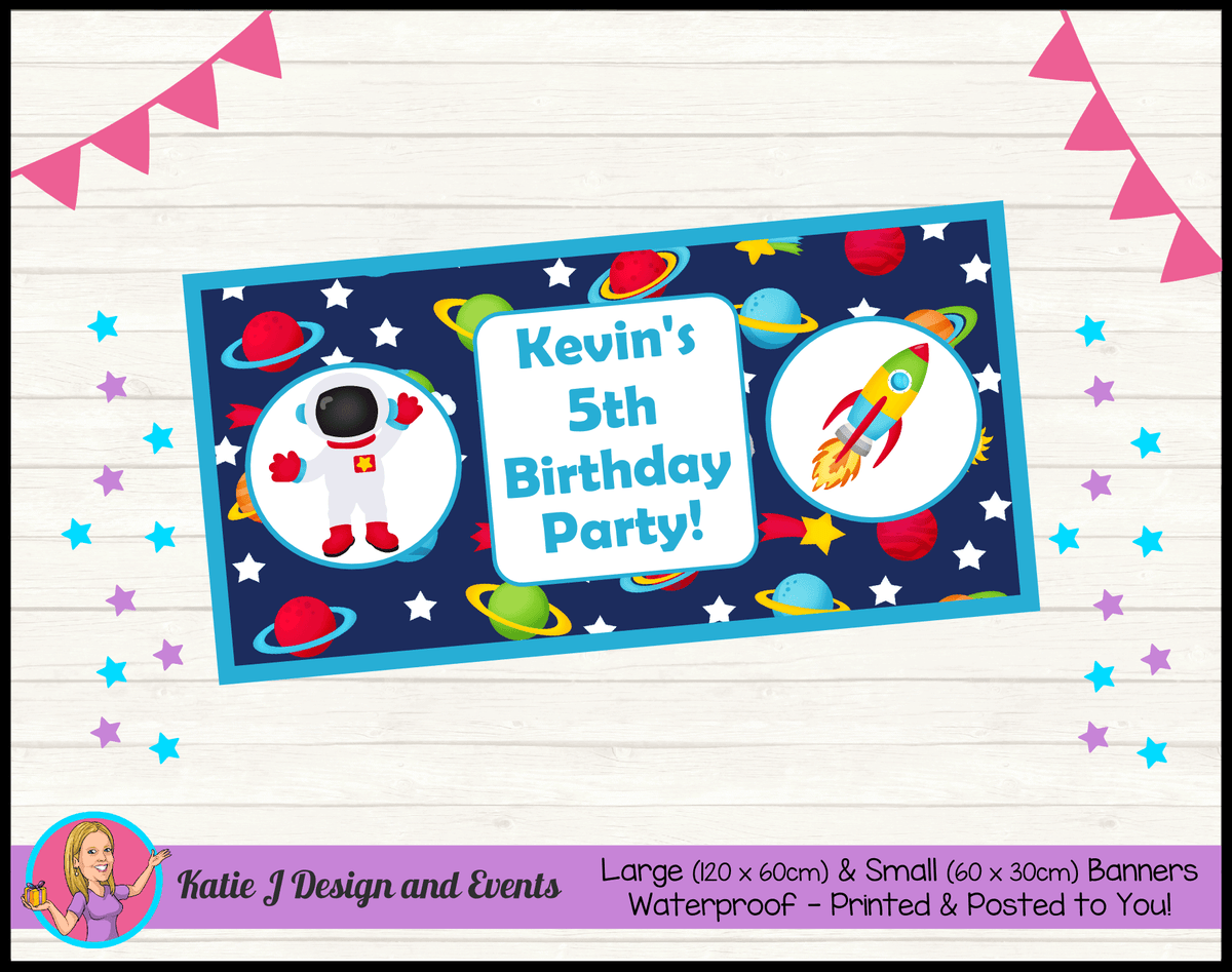 Personalised Outer Space Birthday Party Banner