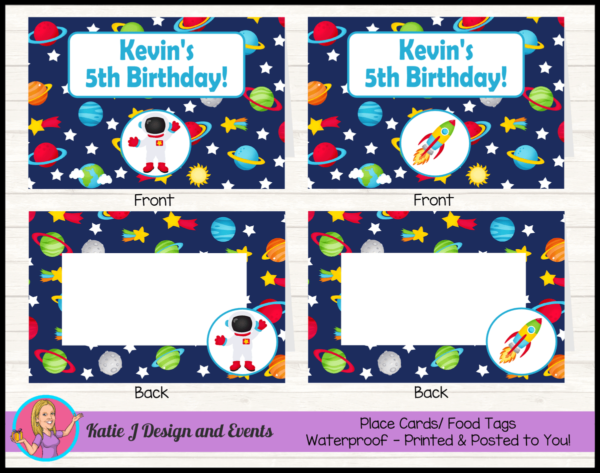 Outer Space Galaxy Personalised Birthday Party Place Cards