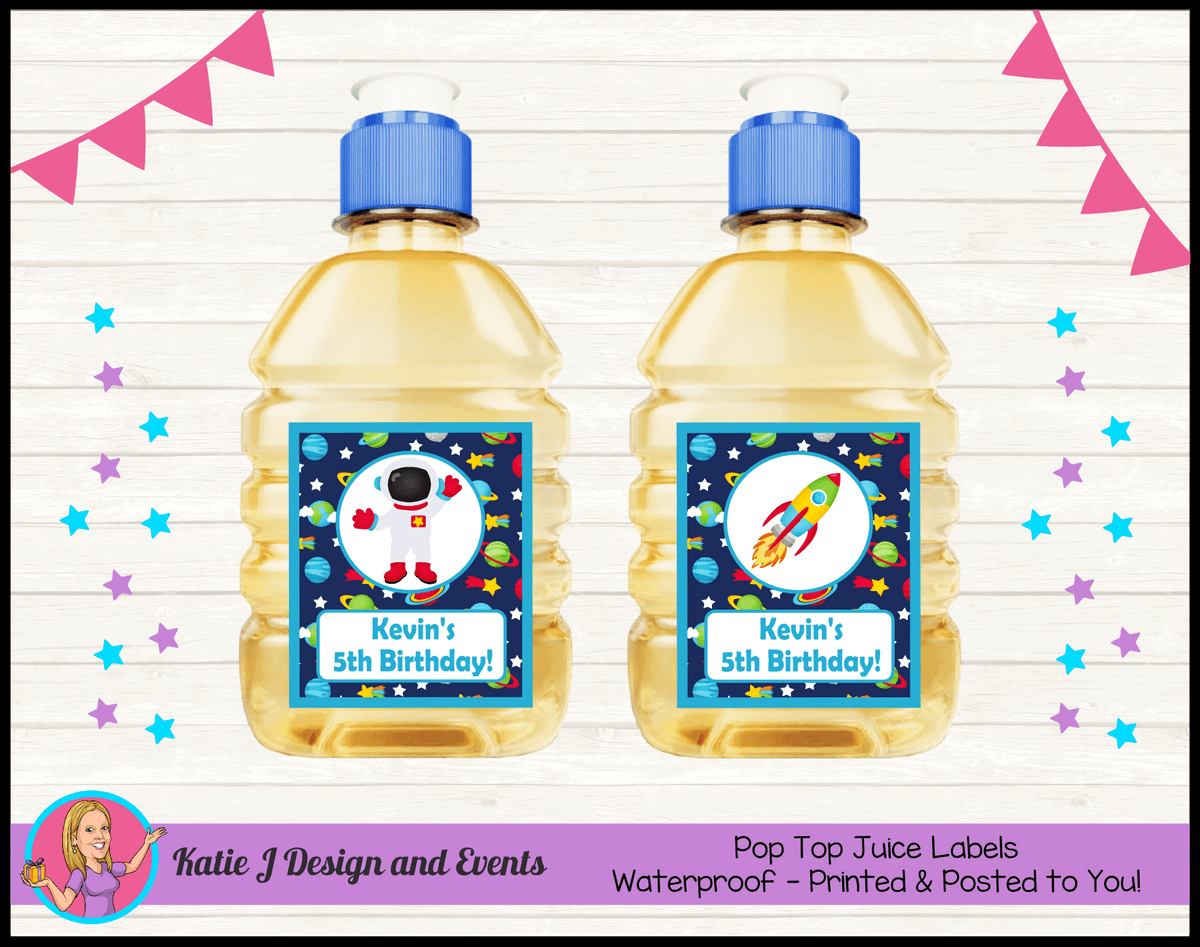 Outer Space Galaxy Personalised Birthday Party Pop Top Juice Labels