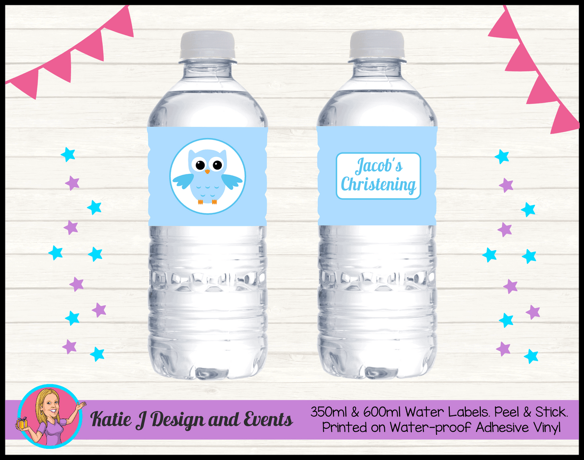 Personalised Boys Owl Christening Party Water Labels