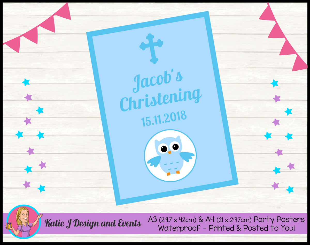 Personalised Boys Owl Christening Poster