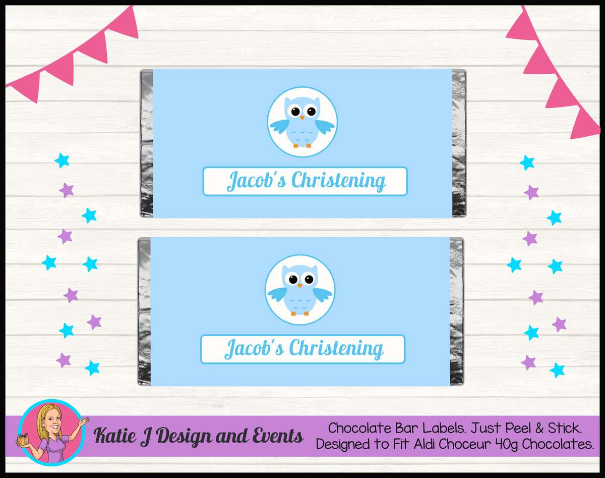 Personalised Boys Owl Christening Chocolate Labels Wrappers
