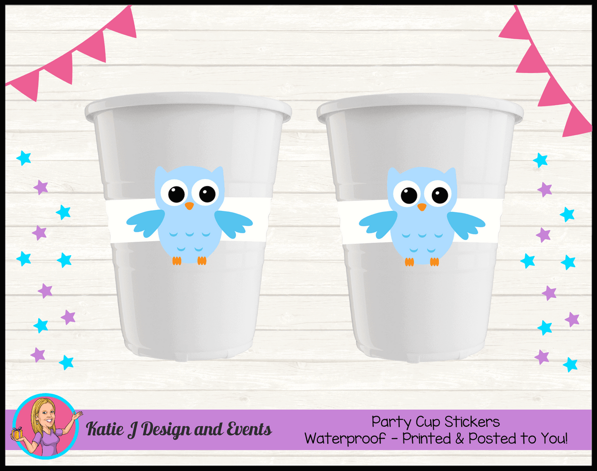 Personalised Boys Owl Christening Cup Stickers Cups