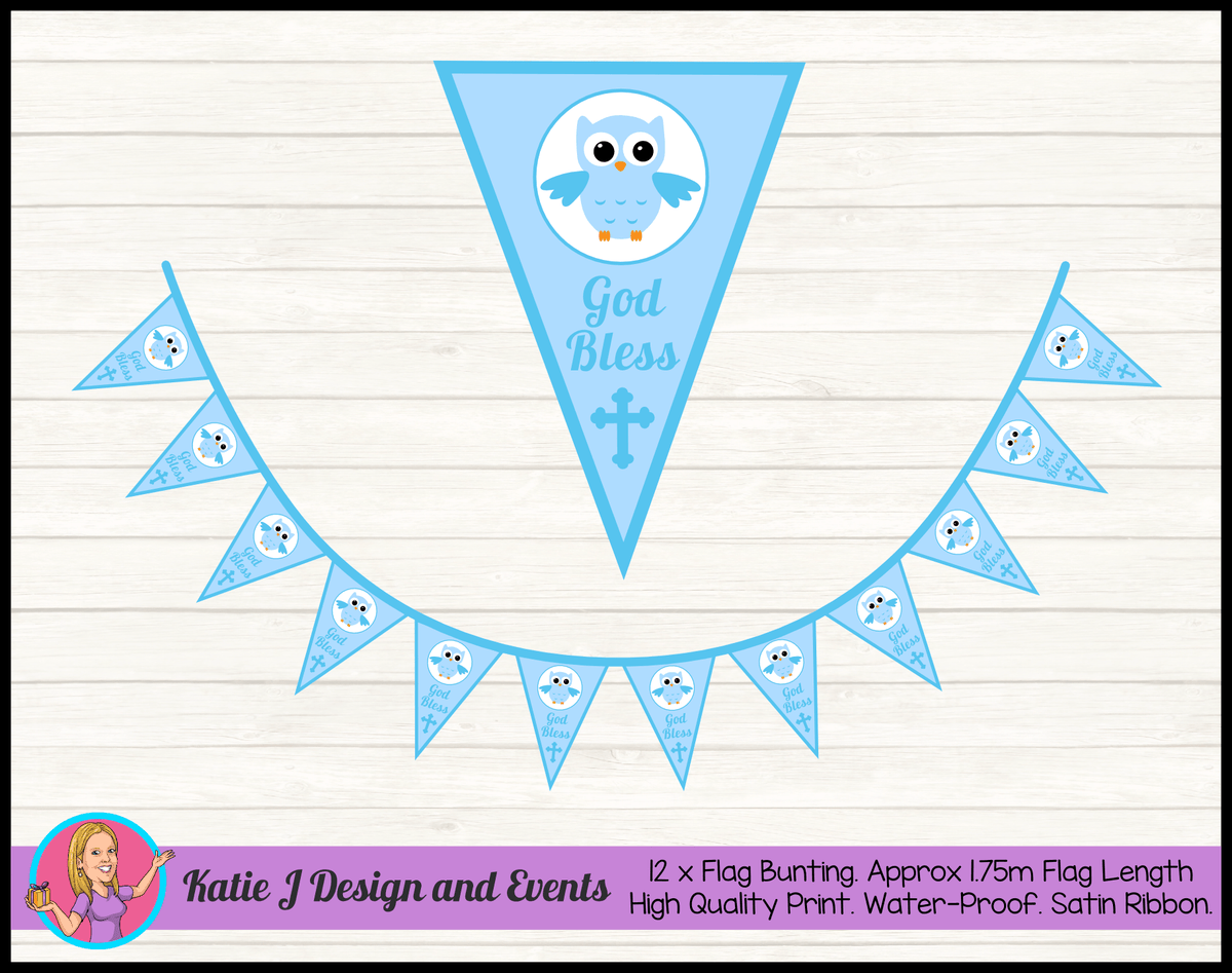Personalised Boys Owl Christening Party Flag Bunting