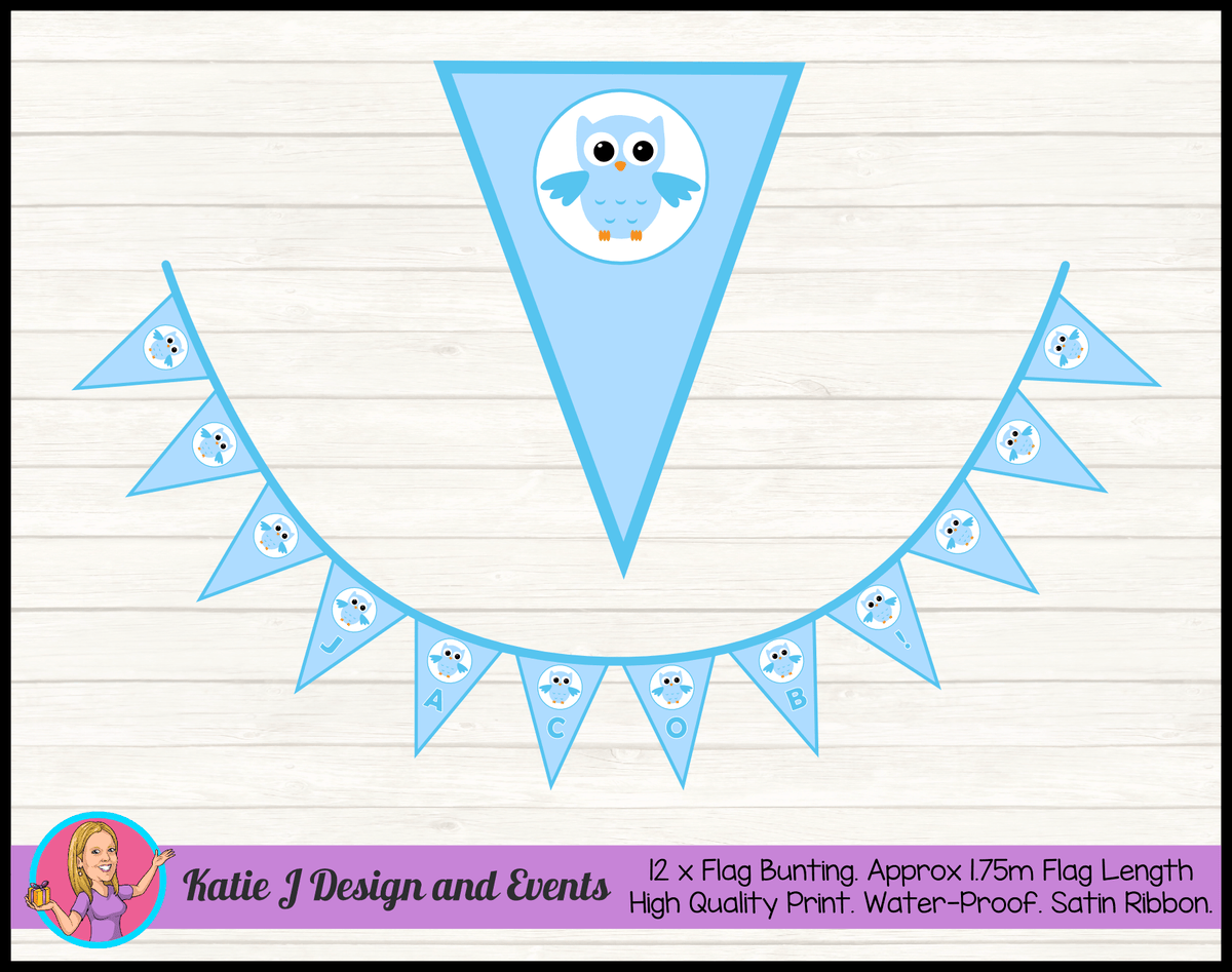 Owl Blue Christening Decorations