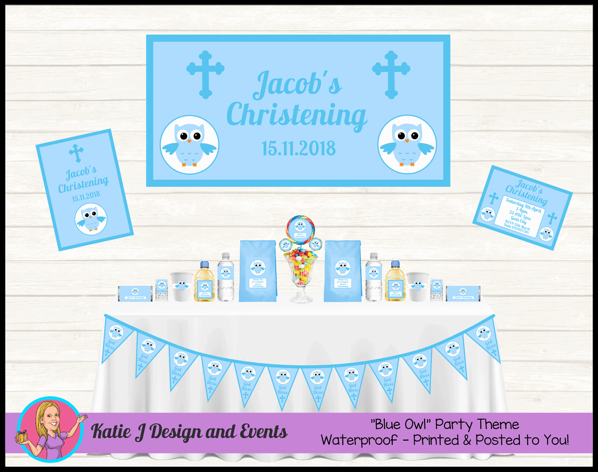 Personalised Boys Owl Christening Party Packs Decorations Supplies