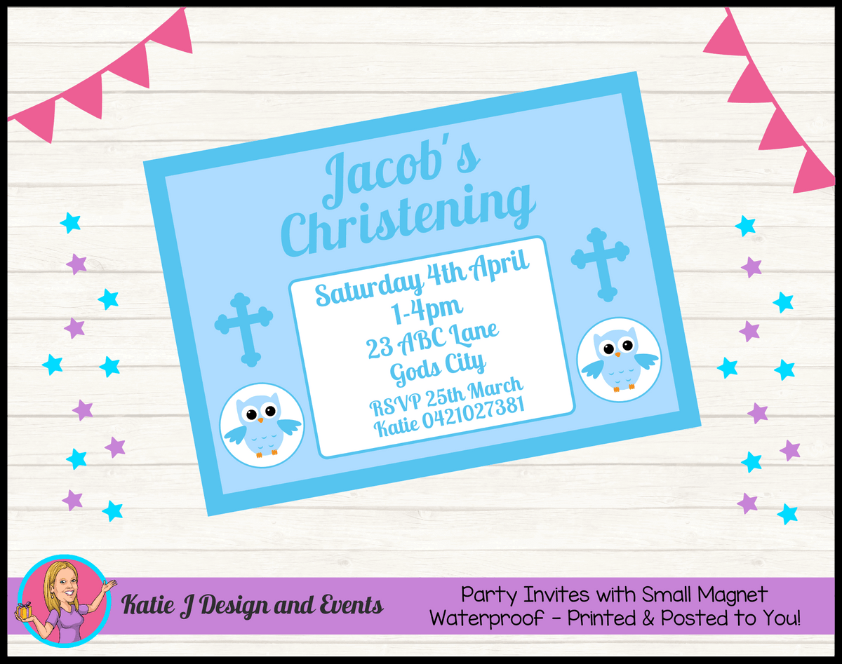 Personalised Boys Owl Christening Invites Invitations