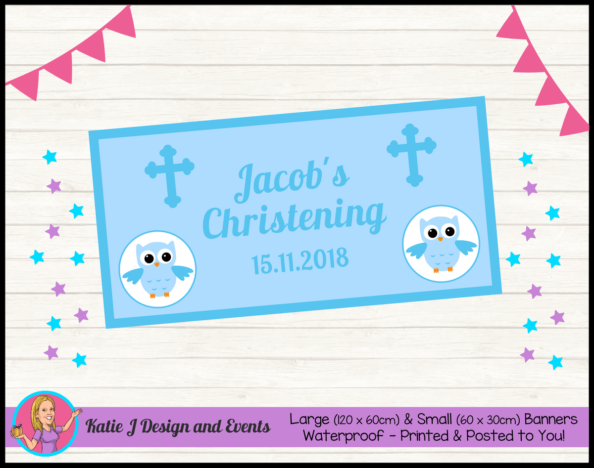Personalised Boys Owl Christening Banner