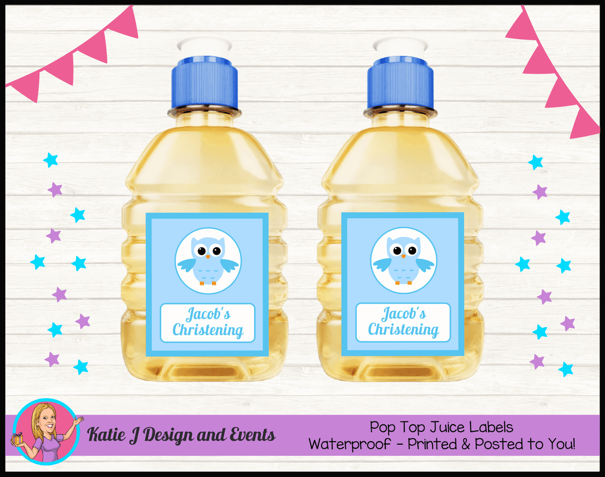 Personalised Boys Owl Christening Pop Top Juice Labels