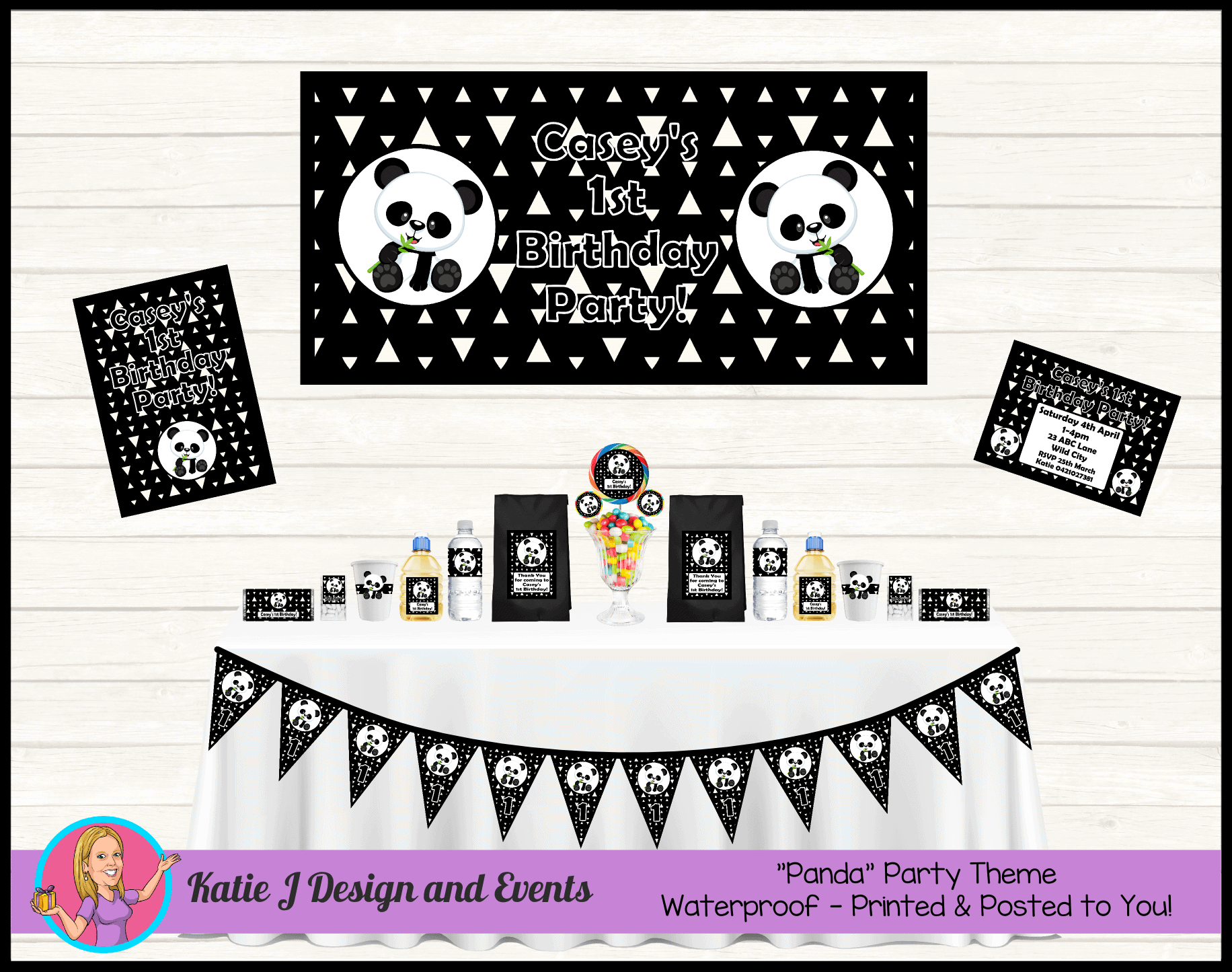 Personalised Panda Party Packs Decorations Supplies