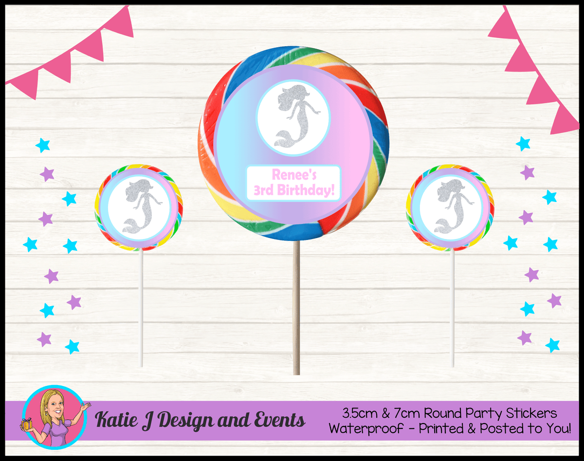 Personalised Pastel Rainbow Mermaid Round Lollipop Stickers