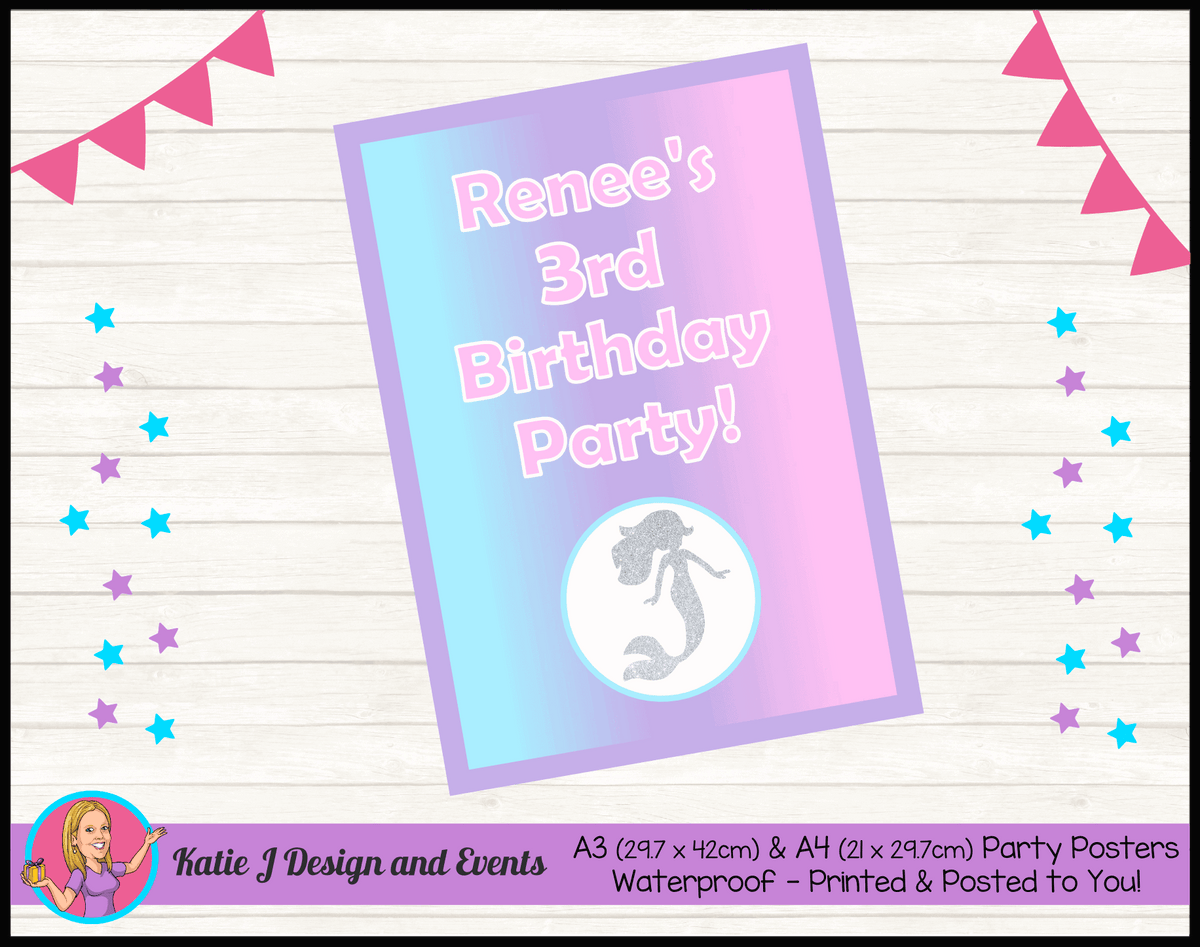 Personalised Pastel Rainbow Mermaid Birthday Party Poster