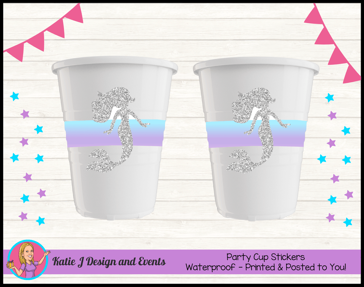 Personalised Pastel Rainbow Mermaid Party Cup Stickers Cups