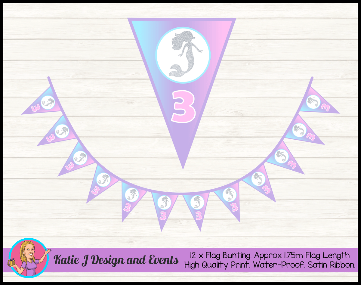 Personalised Pastel Rainbow Mermaid Birthday Party Flag Bunting
