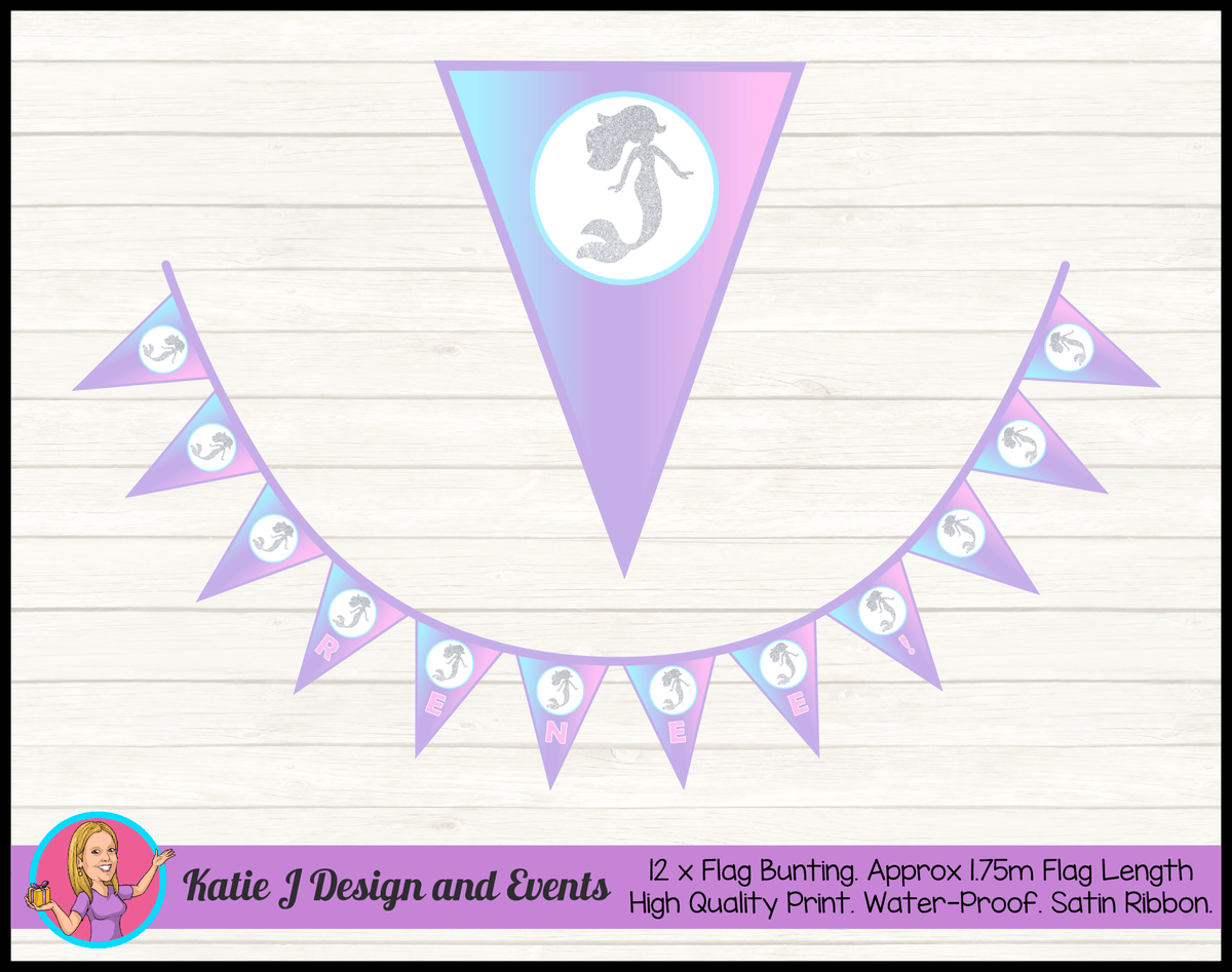 Personalised Pastel Rainbow Mermaid Birthday Party Decorations