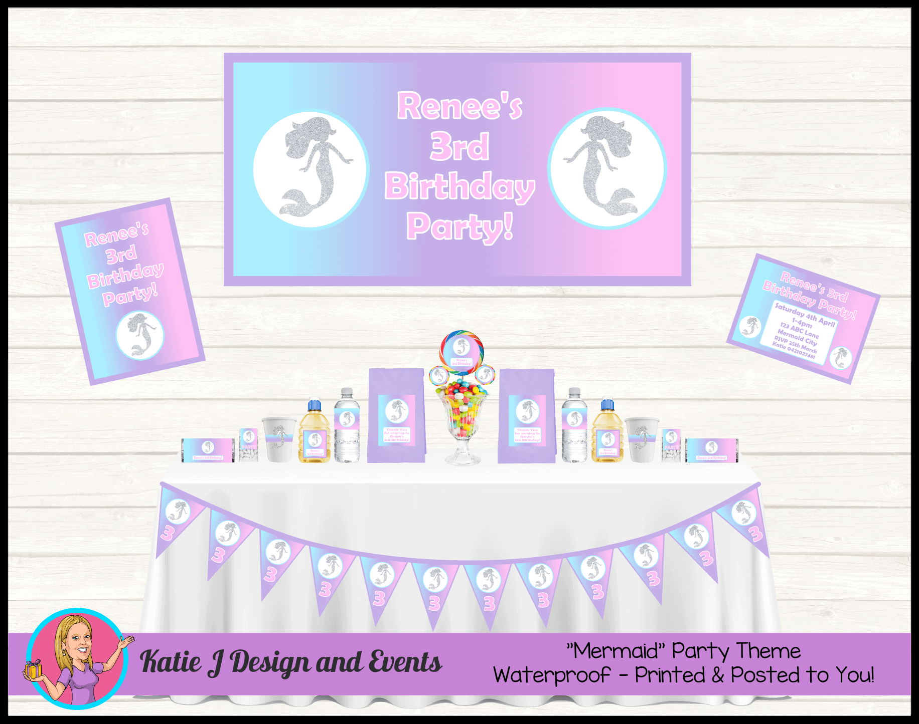 Personalised Pastel Rainbow Mermaid Party Packs Decorations Supplies