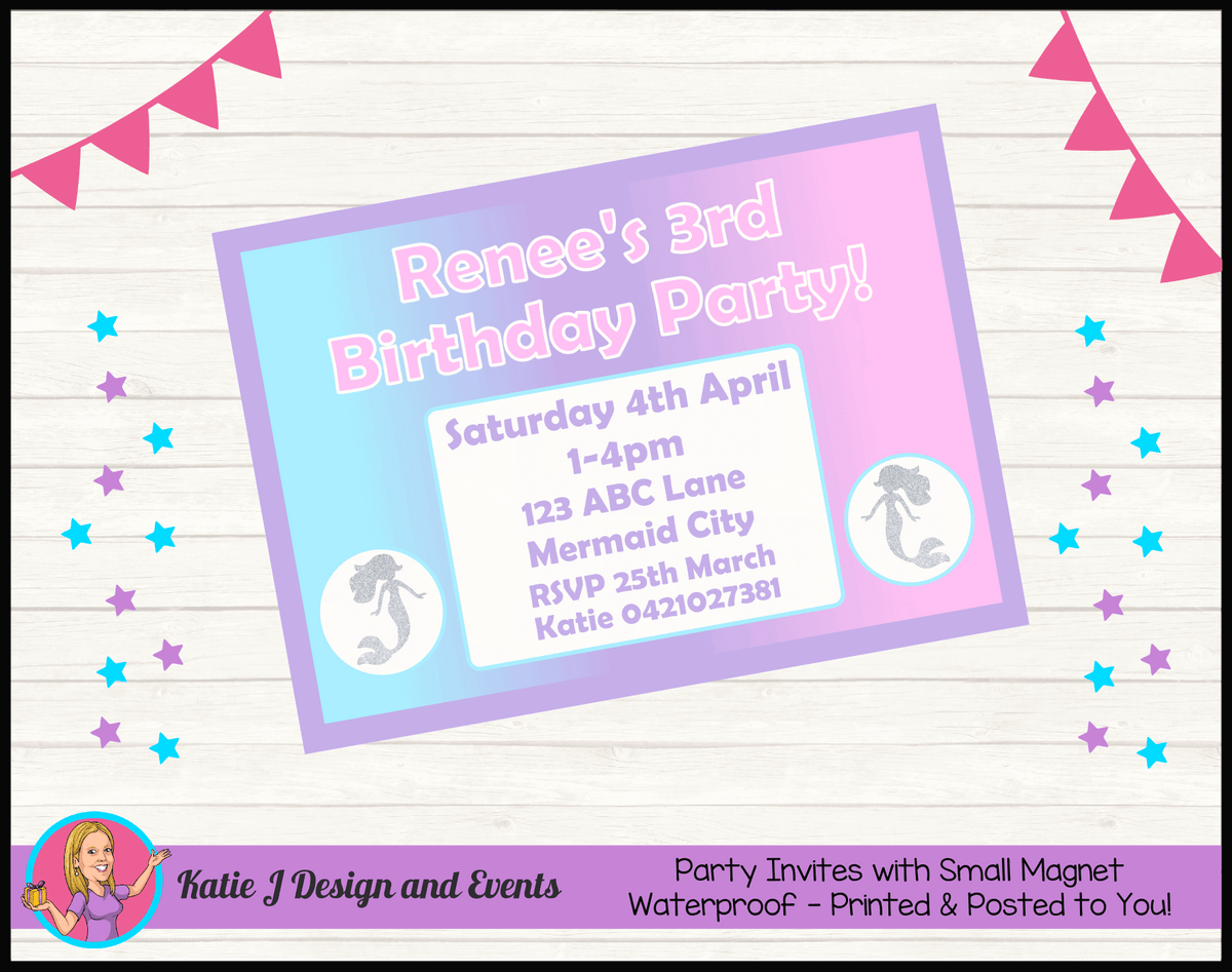 Personalised Pastel Rainbow Mermaid Party Invites Invitations