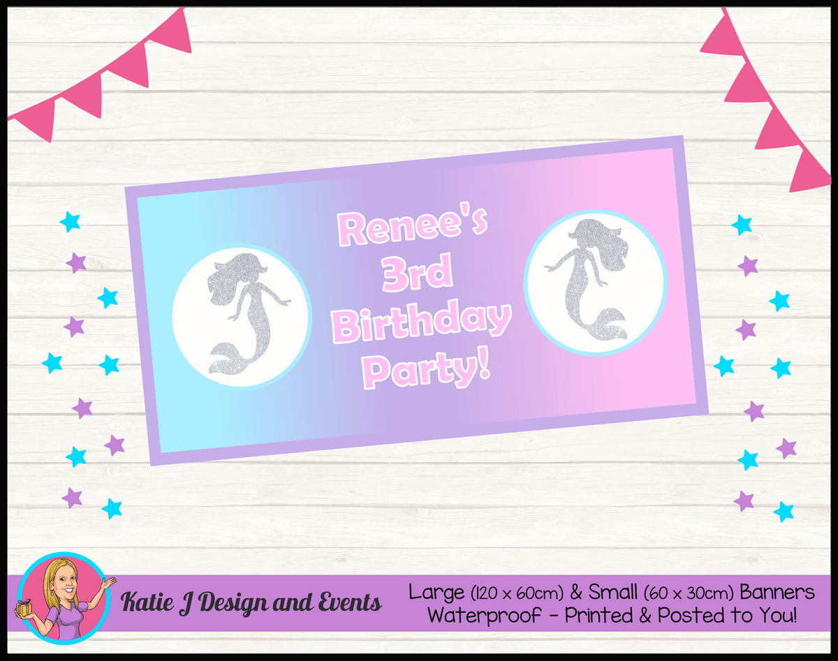 Personalised Pastel Rainbow Mermaid Birthday Party Banner
