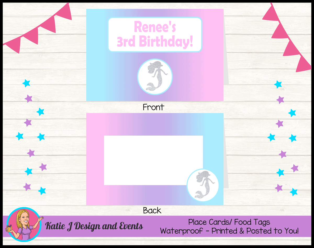 Personalised Pastel Rainbow Mermaid Party Place Cards