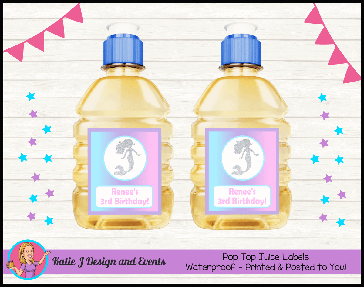 Personalised Pastel Rainbow Mermaid Pop Top Juice Labels