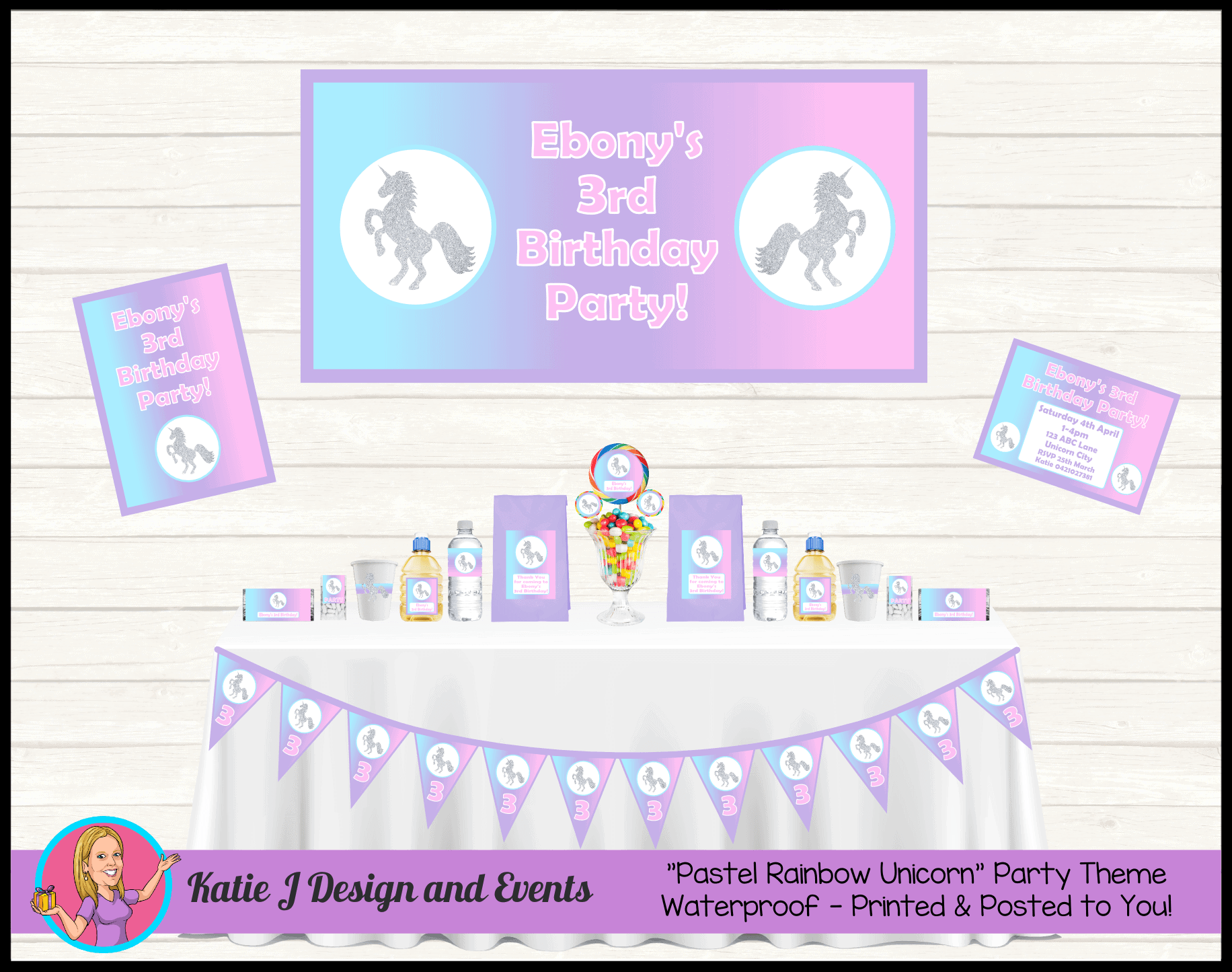 Personalised Pastel Rainbow Unicorn Party Packs Decorations Supplies