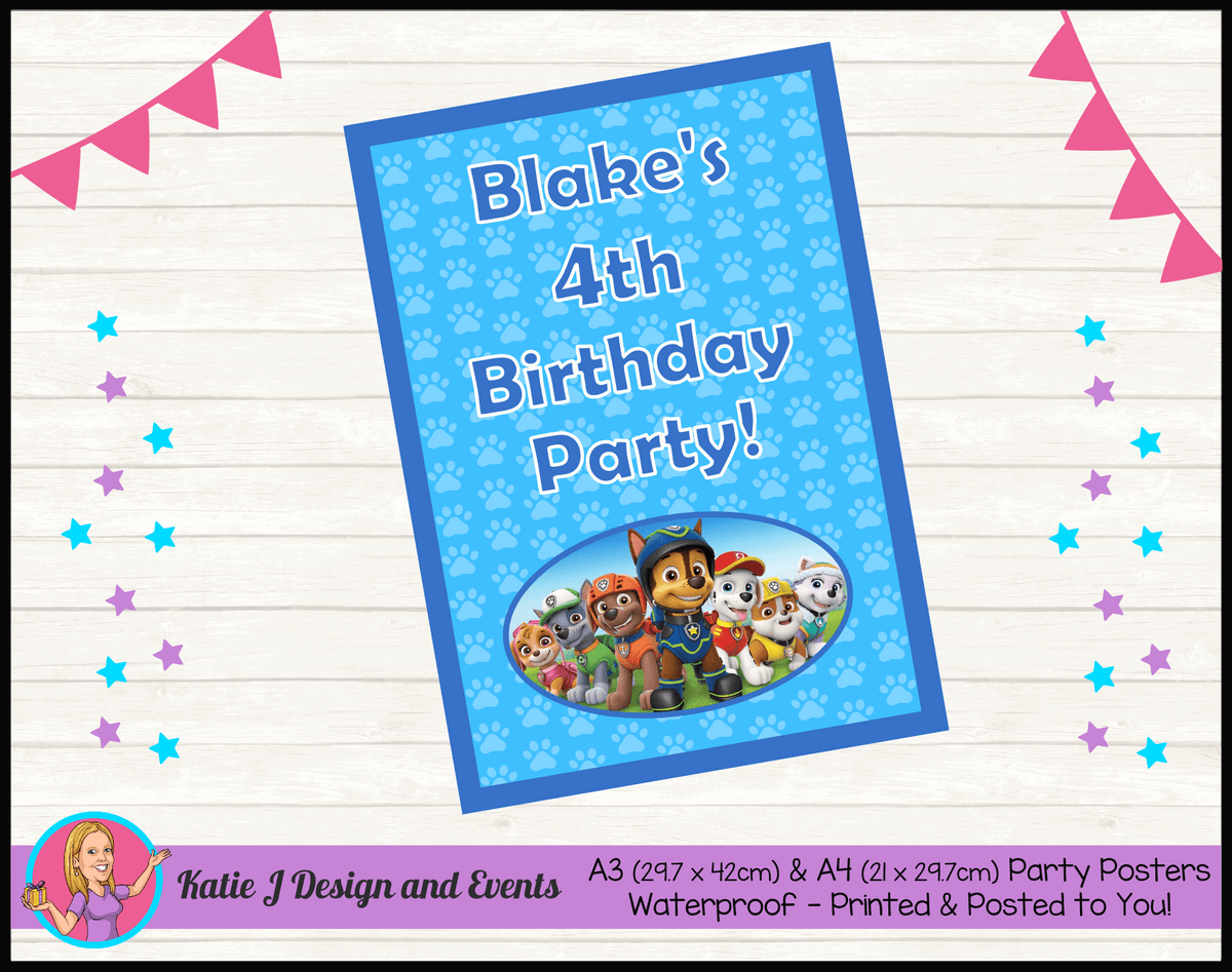 Personalised Boys Paw Patrol Birthday Party Poster
