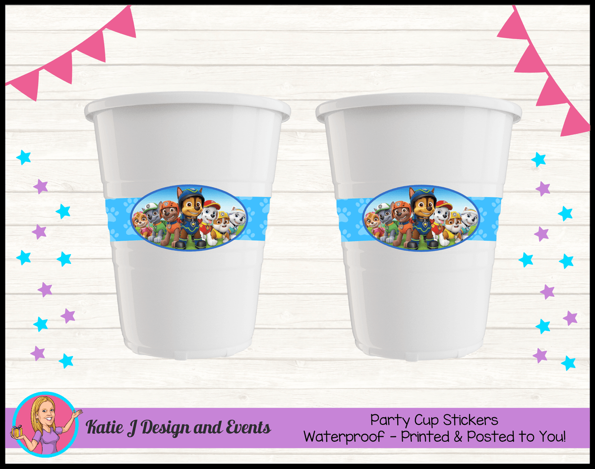 Personalised Boys Paw Patrol Party Cup Stickers Cups