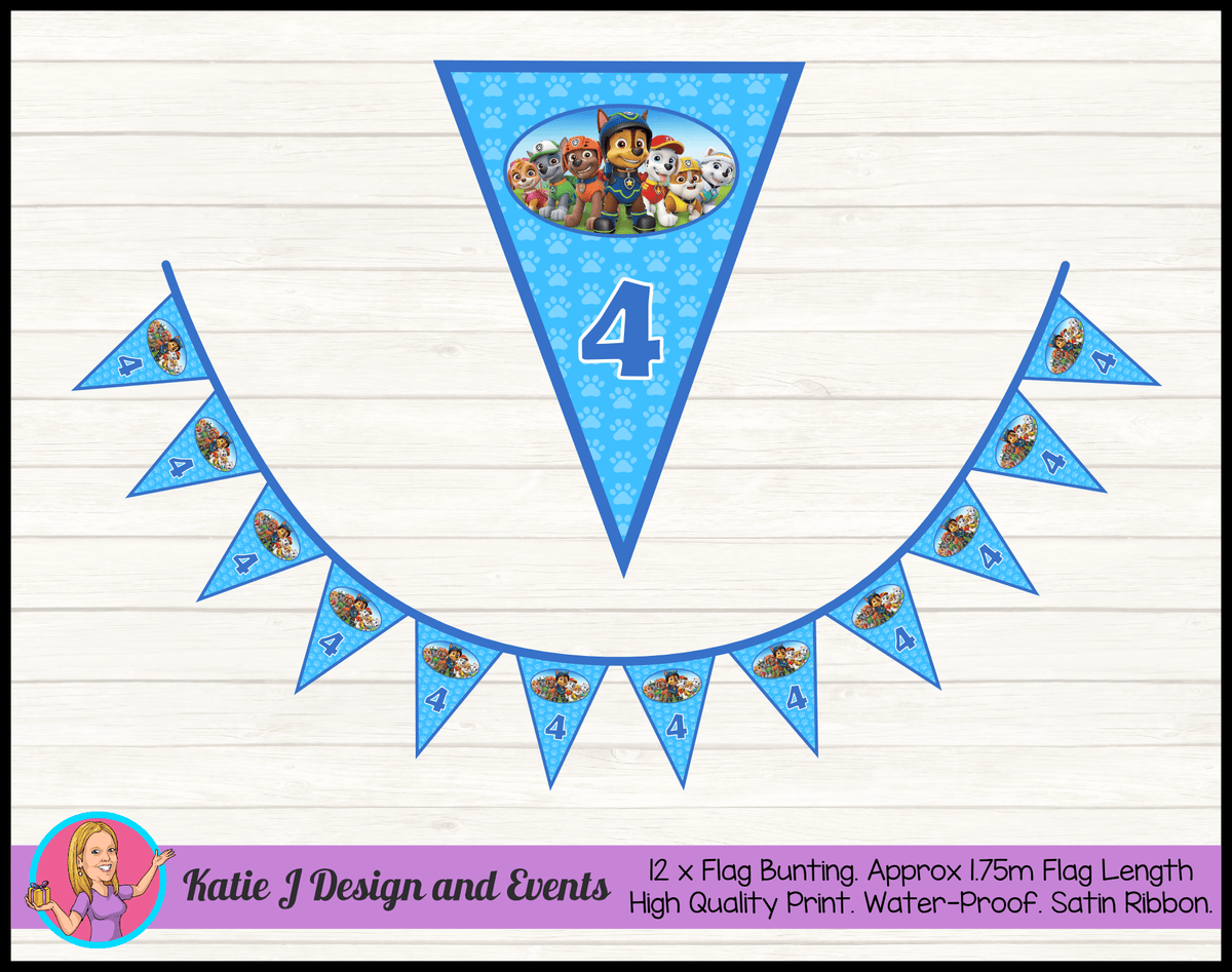 Personalised Boys Paw Patrol Birthday Party Flag Bunting