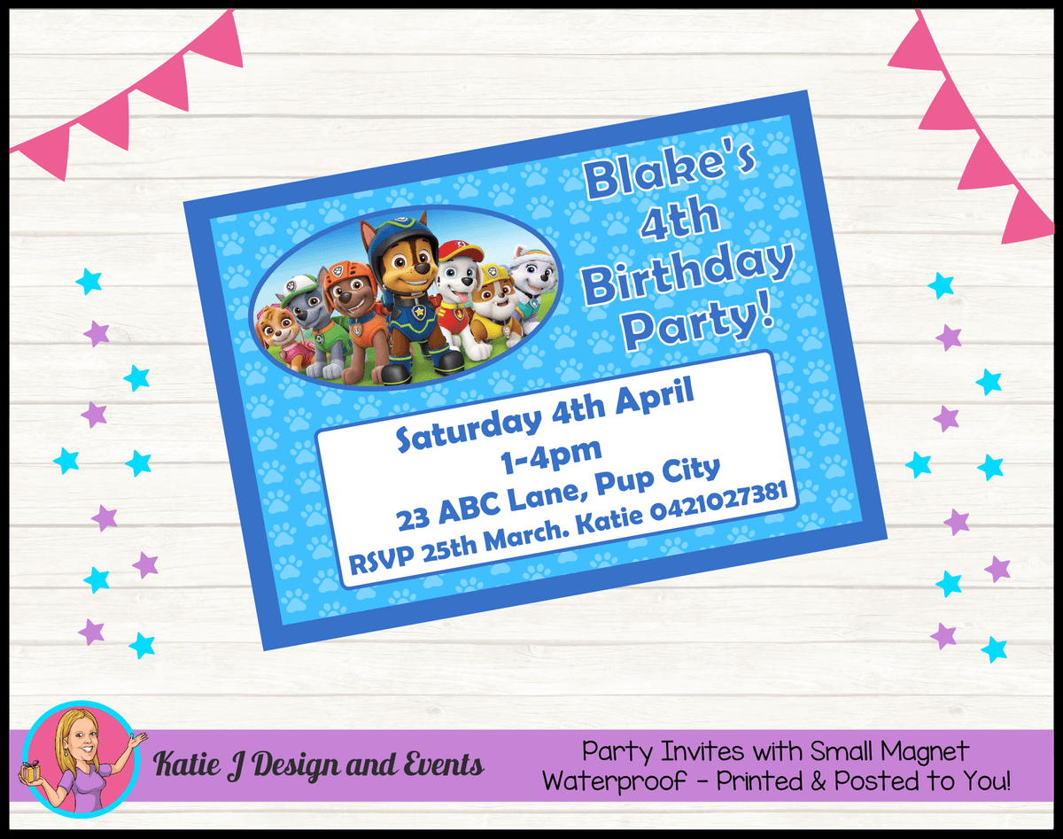 Personalised Boys Paw Patrol Birthday Party Invites Invitations